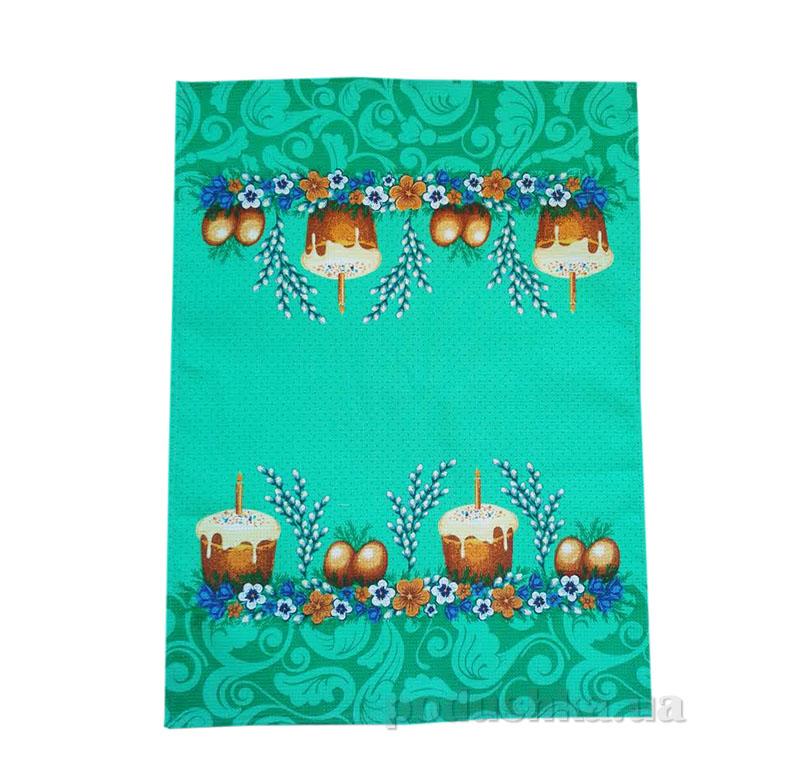 Кухонное вафельное полотенце Пасха Весна зеленое