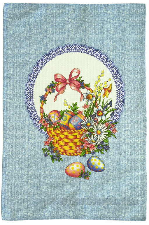 Кухонное вафельное полотенце Руно Корзинка голубое 45х70 см  Руно