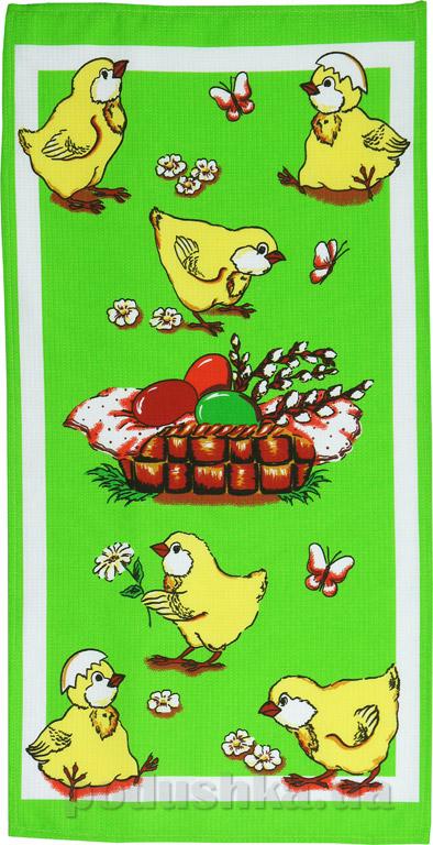 Кухонное вафельное полотенце Руно Цыплята салатовое