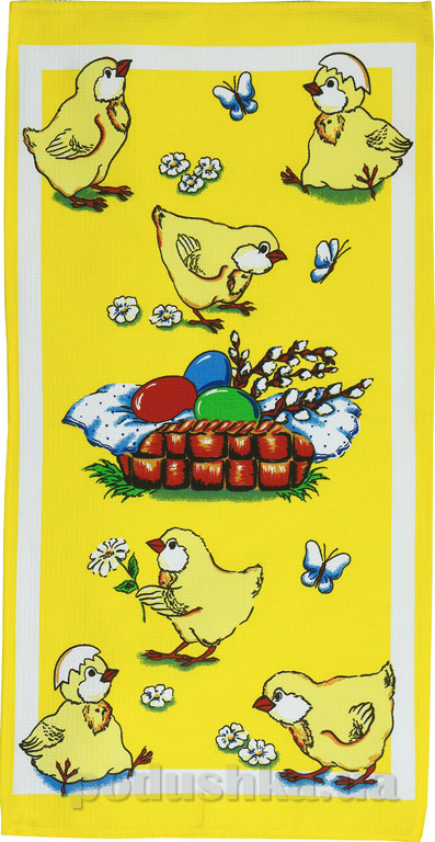 Кухонное вафельное полотенце Руно Цыплята желтое
