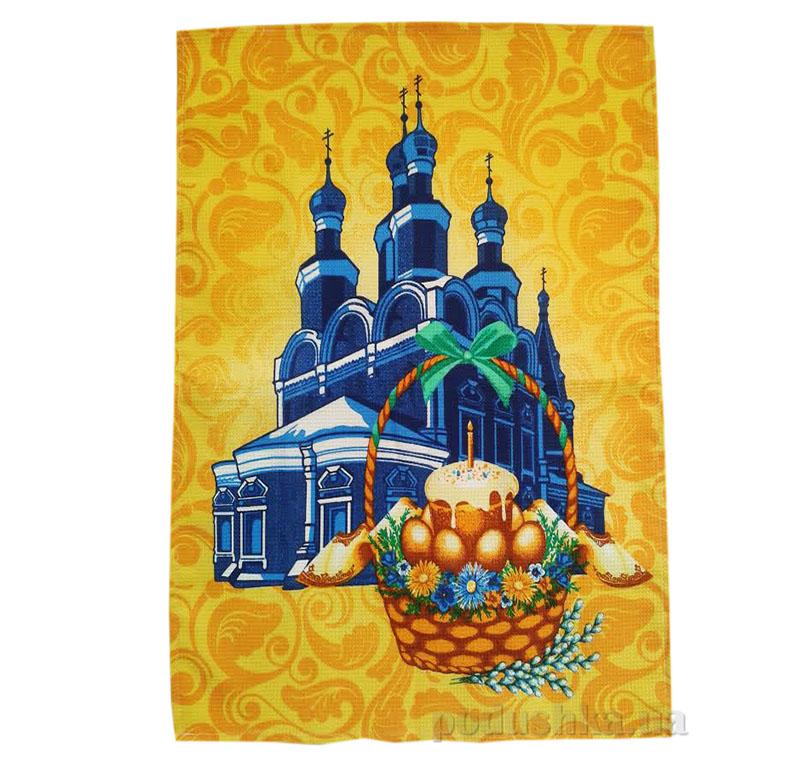 Кухонное вафельное полотенце Собор желтое