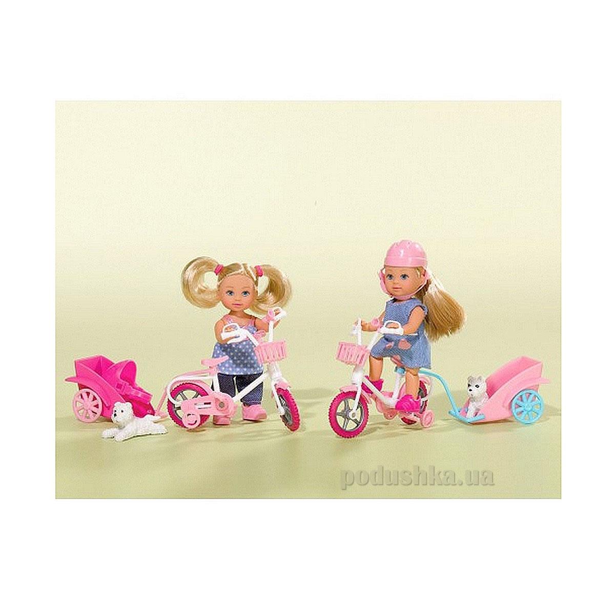 Кукла Эви Прогулка на велосипеде с собачкой, 2 вида Steffi Evi Love 5730783