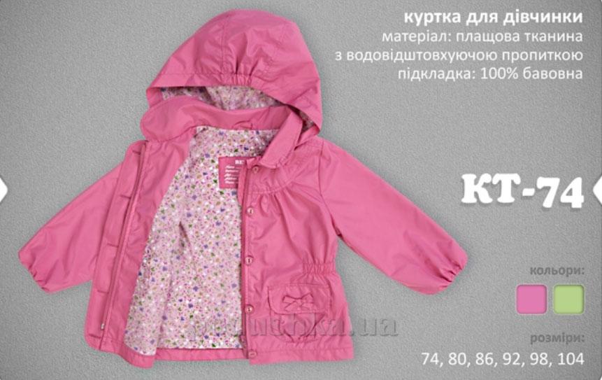 Куртка для девочки Bembi КТ74 плащевка