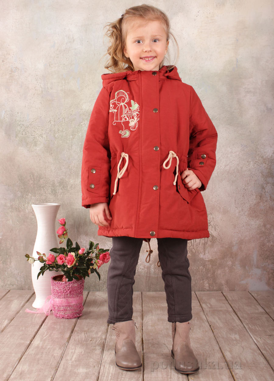 Куртка-парка демисезонная для девочки Модный карапуз 03-00552 Теракотовая