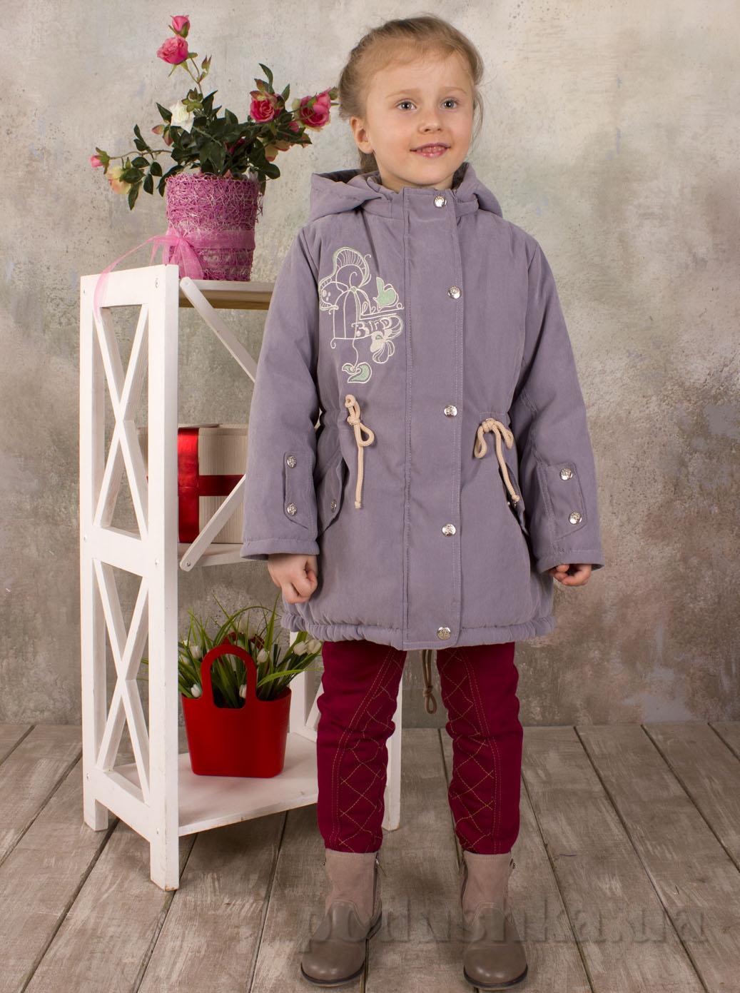 Курточка демисезонная для девочки с капюшоном Модный карапуз 03-00552 Серая