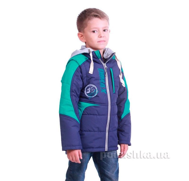 Курточка-жилет для мальчика Димакс КуМ 105 сине-зеленая