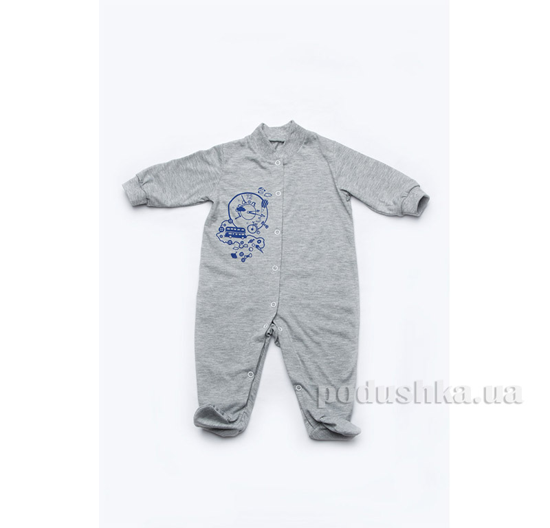 Летний комбинезон для новорожденного мальчика Модный карапуз 303-00003 Серый с голубым