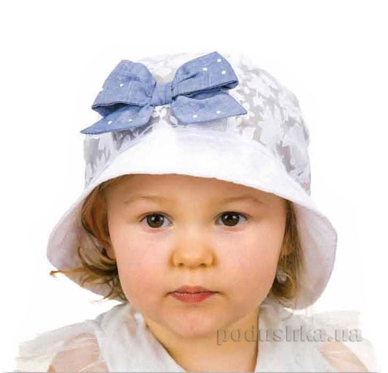 Летняя панамка Pupill Tamara белая с голубым бантом