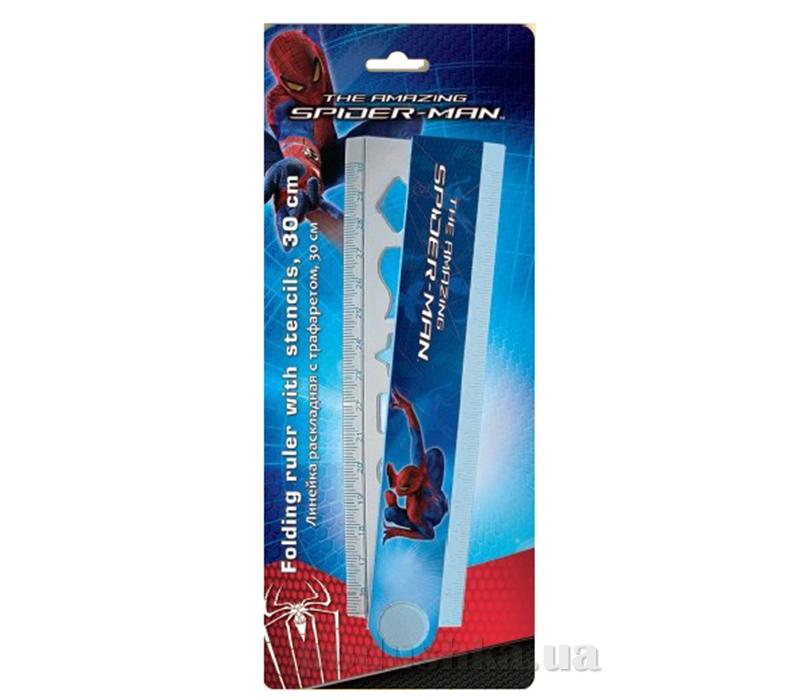 Линейка раскладная с трафаретом Spider-man SM4U-12S-201-BL1