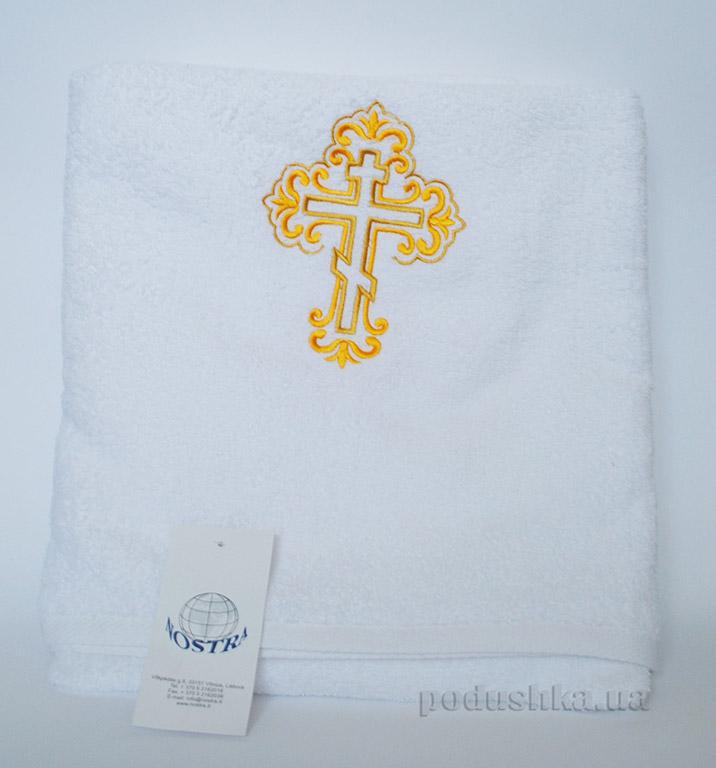 Махровая крыжма для крещения Золотистый крестик