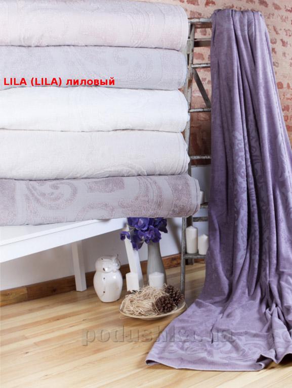 Махровая простынь-покрывало Pavia Lotus Lila лиловая
