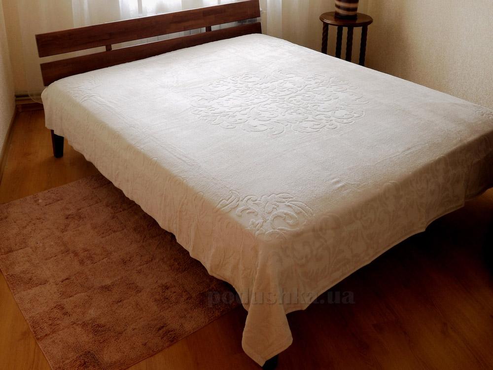 Махровая простынь-покрывало Pavia Monogram beige бежевая