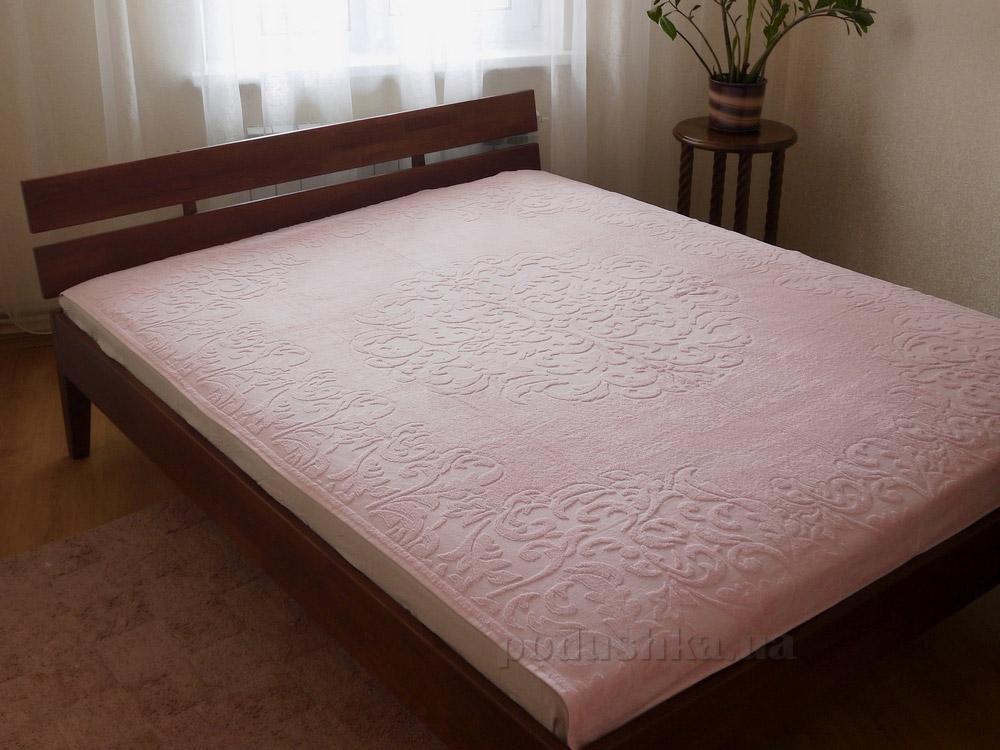 Махровая простынь-покрывало Pavia Monogram pink светло-розовая