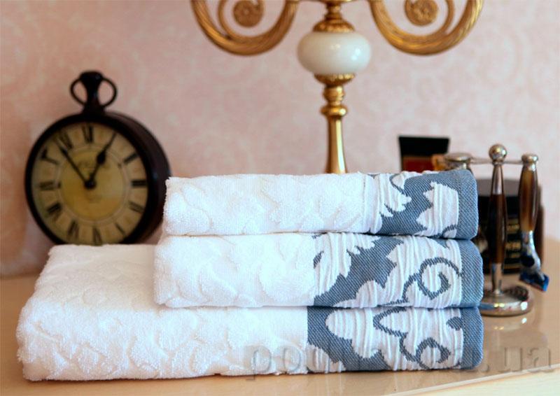Махровое полотенце Boncasa Damask 1726 FE White/Blue