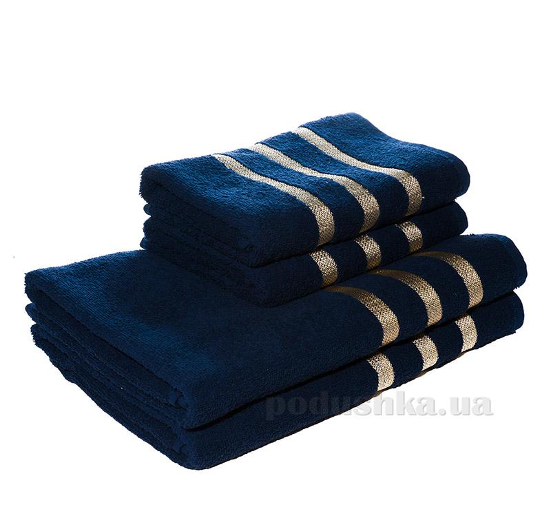 Махровое полотенце Izzihome C. Basik K.Gold темно-синее