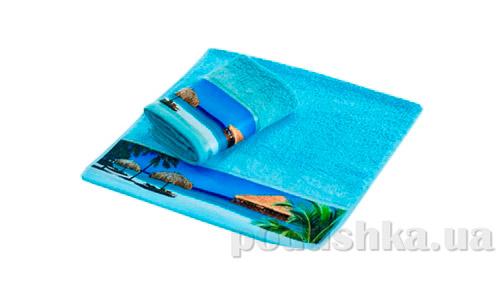 Махровое полотенце Романтика Бали голубое