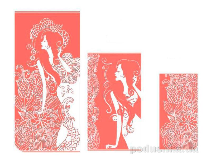 Махровое полотенце Романтика Иллюзия коралловый