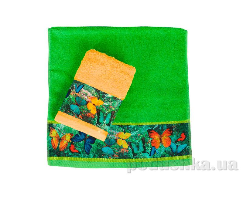 Махровое полотенце Романтика Тропические бабочки оранжевое