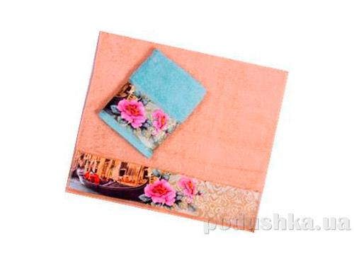 Махровое полотенце Романтика Венеция бирюзовое
