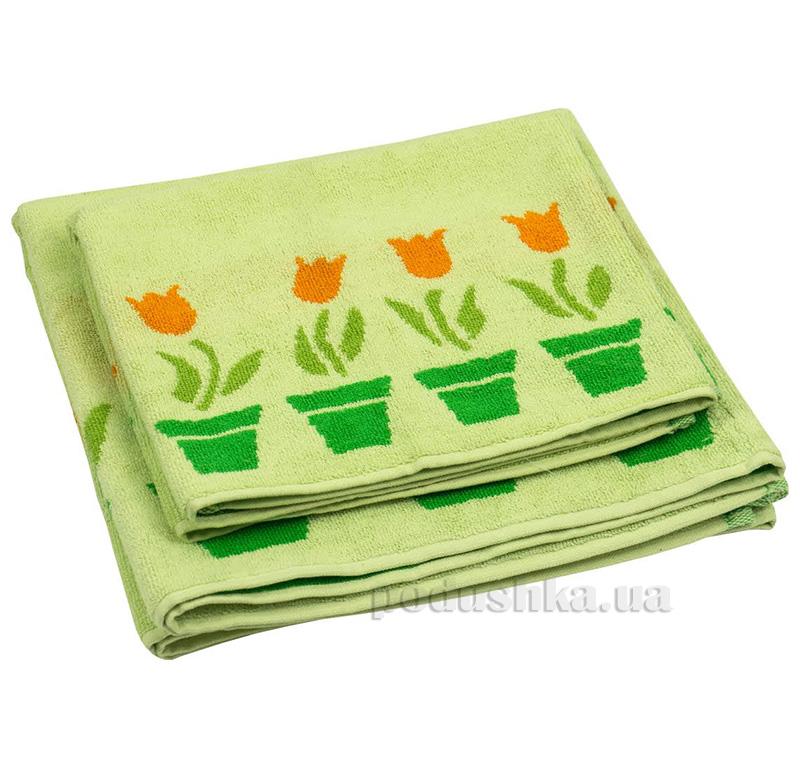 Махровое полотенце Руно салатовые тюльпаны
