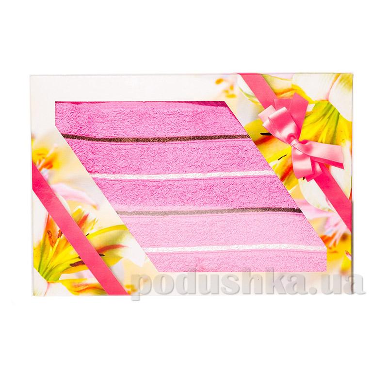 Махровое полотенце в упаковке Izzihome Kahve Gizgili розовое