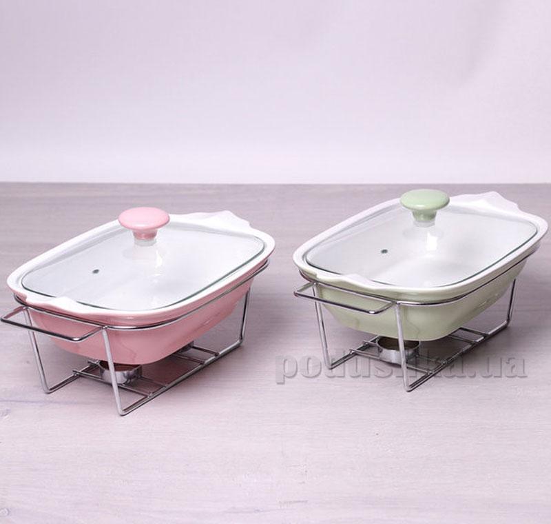 Мармит керамический Kamille AM-6405 прямоугольный 30см 1,4л со стеклянной крышкой на подставке  цвет нежно-розовый Kamille