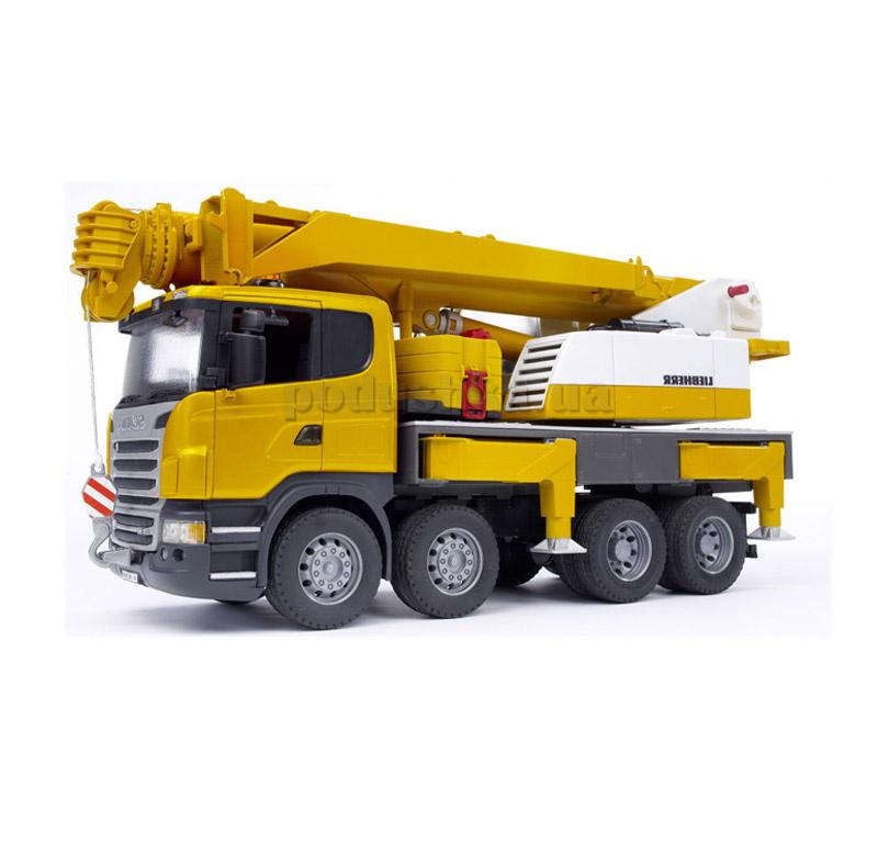 Машинка Автокран Scania Liebherr большой свет и звук Bruder 03570