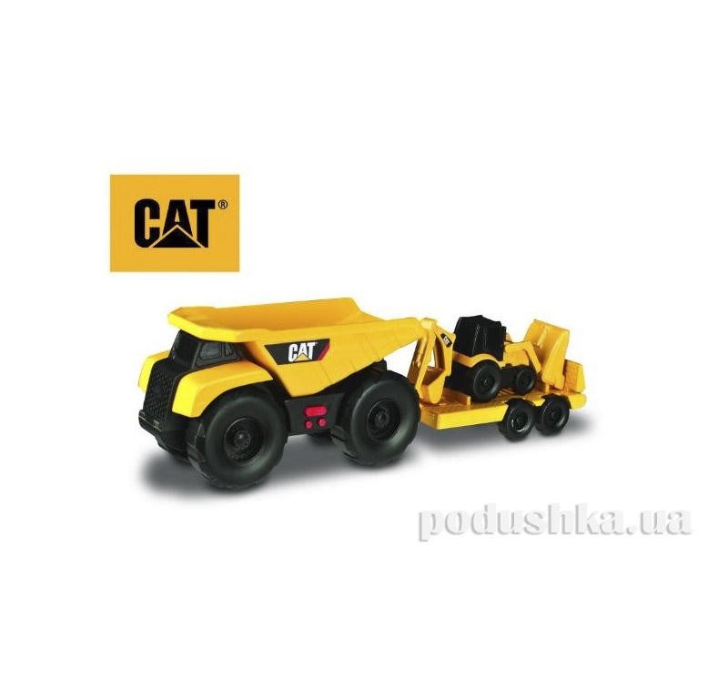 Машинка CAT Самосвал с прицепом и двуковшовым экскаватором 28 см  Toy State 34763
