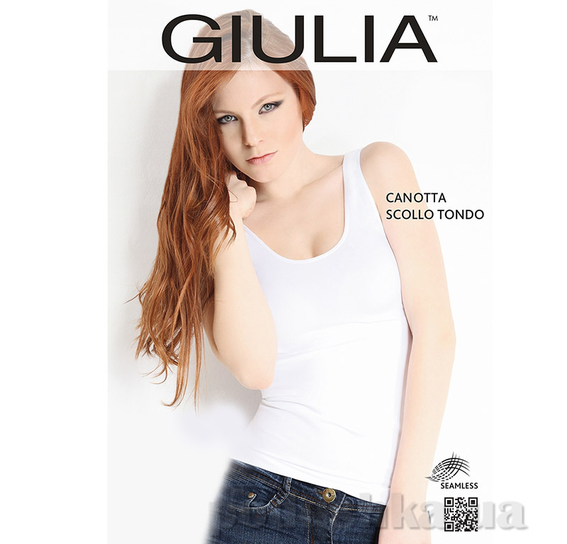 Майка белая женская Canotta Scollo Tondo Giulia Bianco