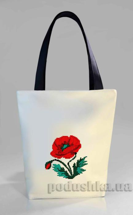 Молодежная сумка-шоппер Мак Б318-белая Slivki