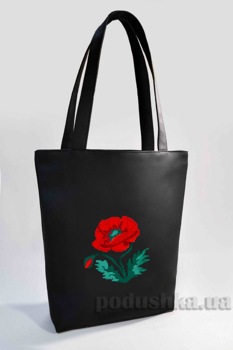 Молодежная сумка-шоппер Мак Б318-черная Slivki
