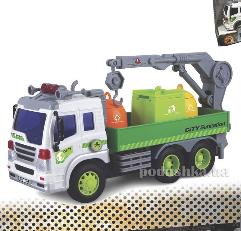 Мусороуборщик Junior Trucker 28 см со светом и звуком Dave Toy 33017   Dave Toy