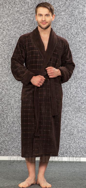 Мужской халат Nusa NS-2860 коричневый L/XL  Nusa