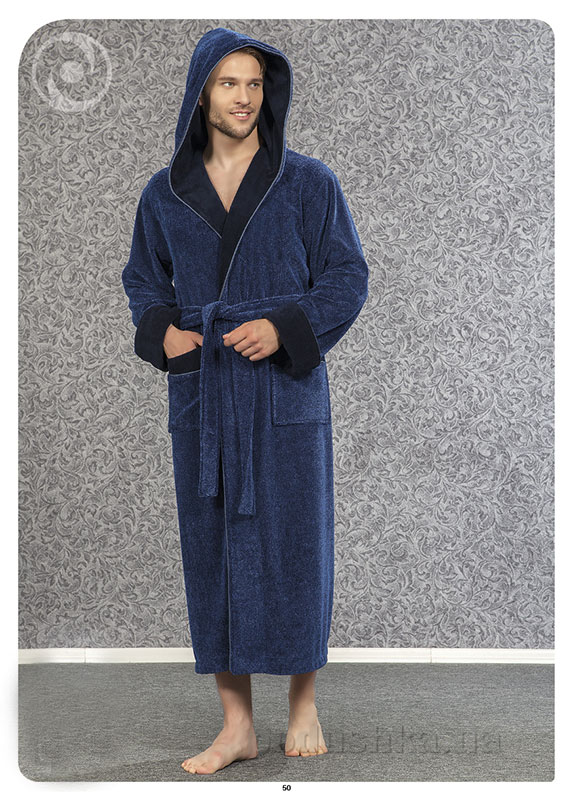 Мужской халат Nusa NS 2845 синий L/XL  Nusa