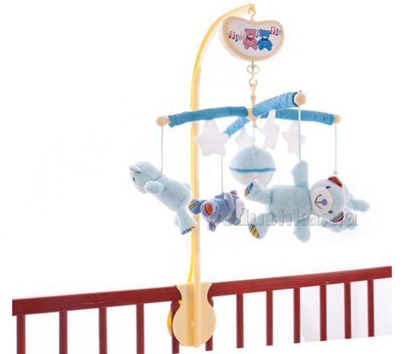 Музыкальный мобиль Biba Toys Счастливые мишки Голубой 038BM blue