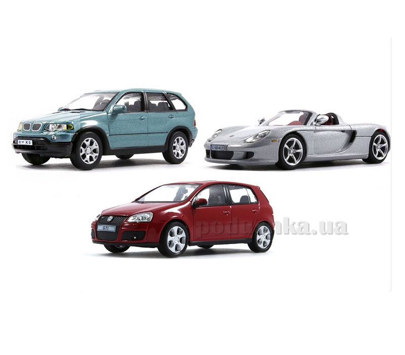 Набор 3 автомобиля 1:43 VW Golf GTI+Porsche Carrera GT Cabriolet+BMW X5 Cararama