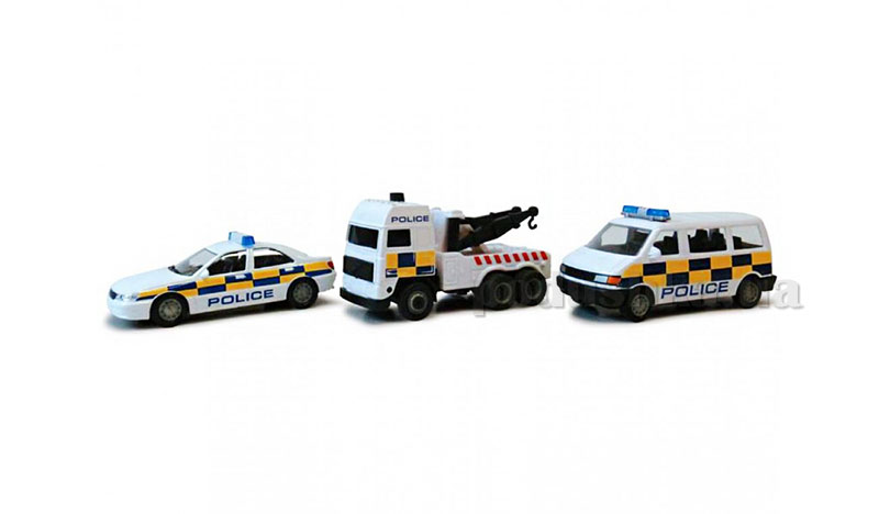 Набор 3 автомодели 1:43-Полиция легковая+эвакуатор+микроавтобус Cararama