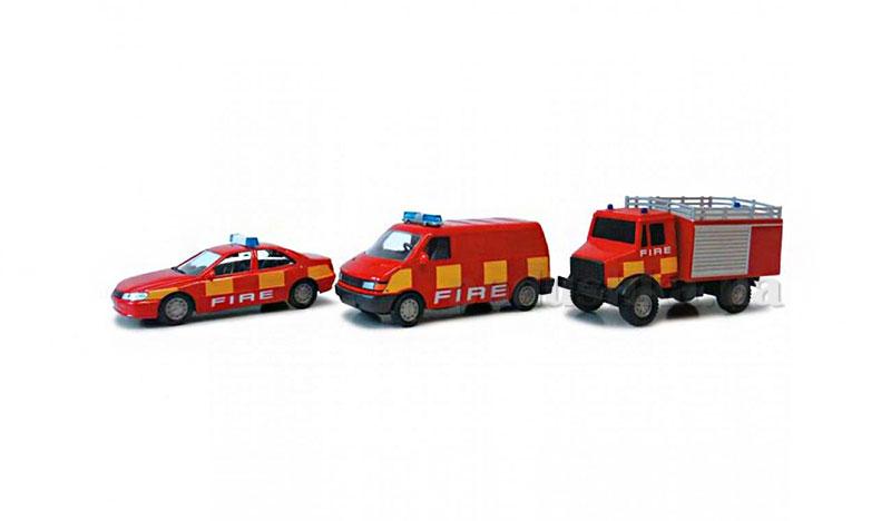 Набор 3 автомодели 1:43 - Пожарный легковая+грузовик+микроавтобус Cararama