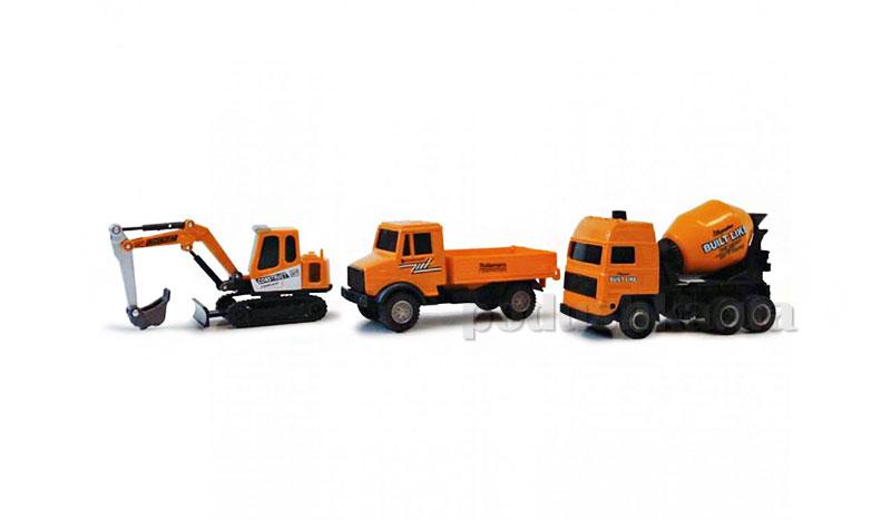 Набор 3 автомодели 1:43 - Строительный Экскаватор, грузовик, бетоновоз Cararama