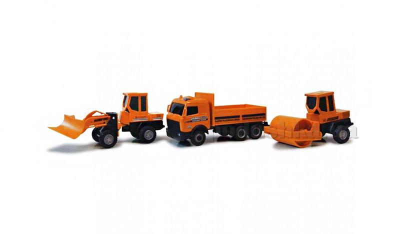 Набор 3 автомодели 1:43-Строительный лодер+грузовик+грузовик с погрузчиком Cararama