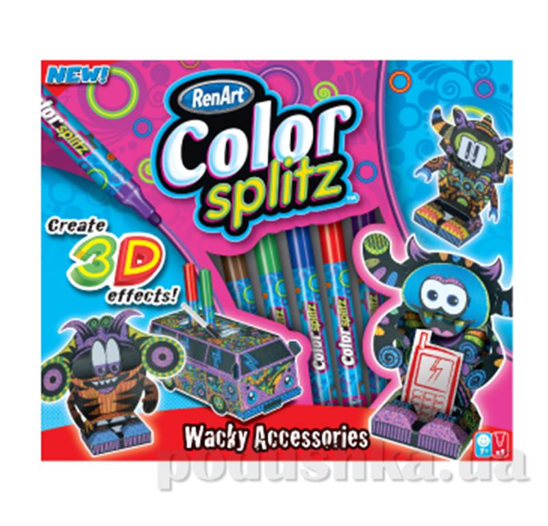 Набор 3Д фигур Renart  Color splitz 5 фломастеров + 3 фигурки