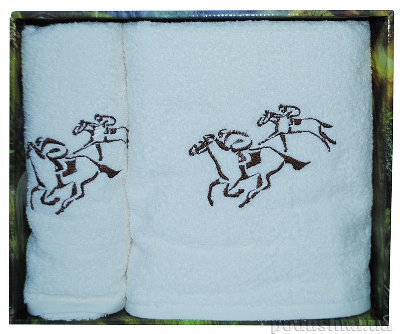 Набор белых махровых полотенец в коробке Megan Лошади
