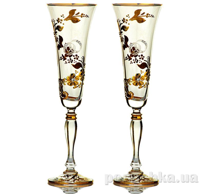Набор бокалов для шампанского Bohemia Sklo Victoria Medea Gold 2 предмета 02-03-180-2-075
