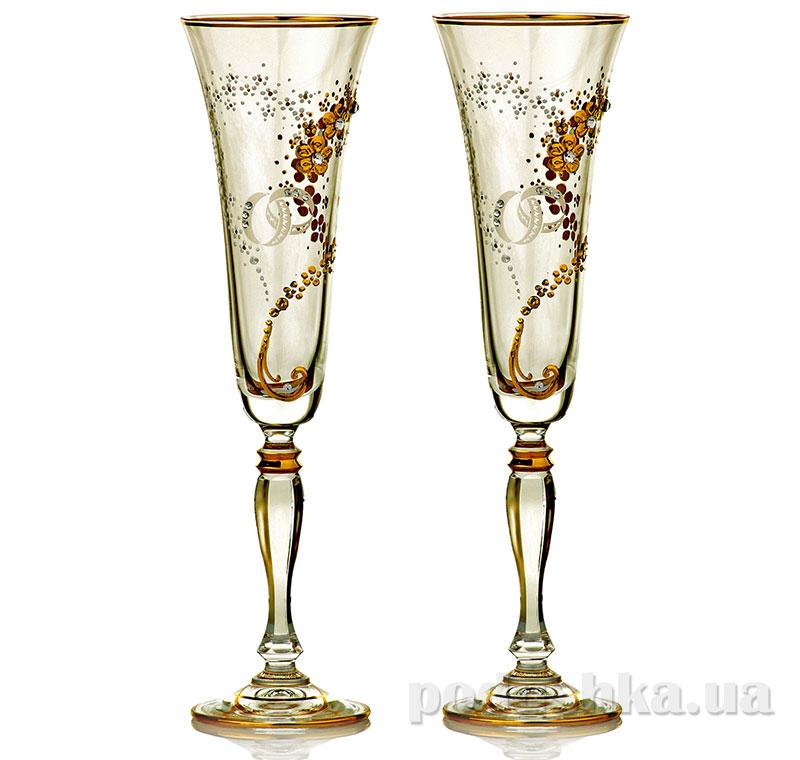 Набор бокалов для шампанского Bohemia Sklo Victoria Vesta Gold 2 предмета 02-03-180-2-086