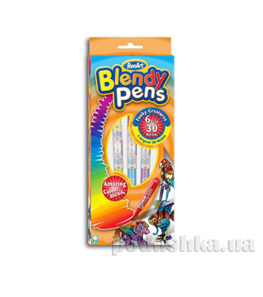 Набор Забавные животные 6 фломастеров+6 3D модели Bleendy pens Renart BP1008UK(UA)