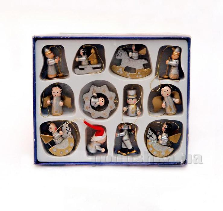 Набор деревянных, новогодних елочных фигурок Девилон 060054
