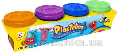 Набор для лепки Plastelino 4 цвета неон