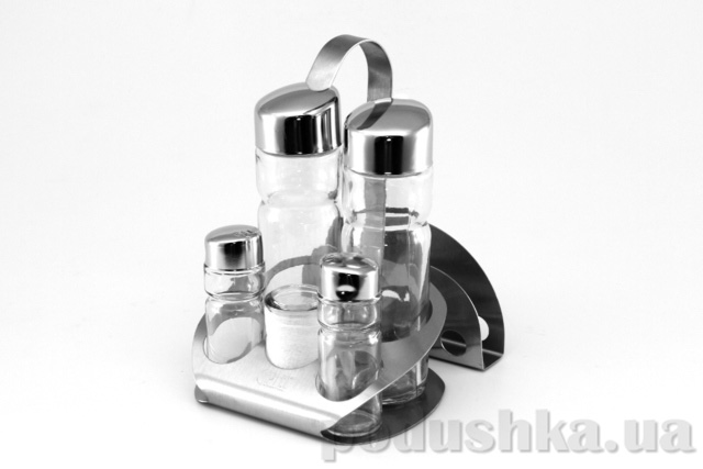 Набор для приправ Gipfel SPIEGEL 6 пр.14,7х13,0х18,7 см стеклянные емкости с крышками нерж сталь на стальной подставке