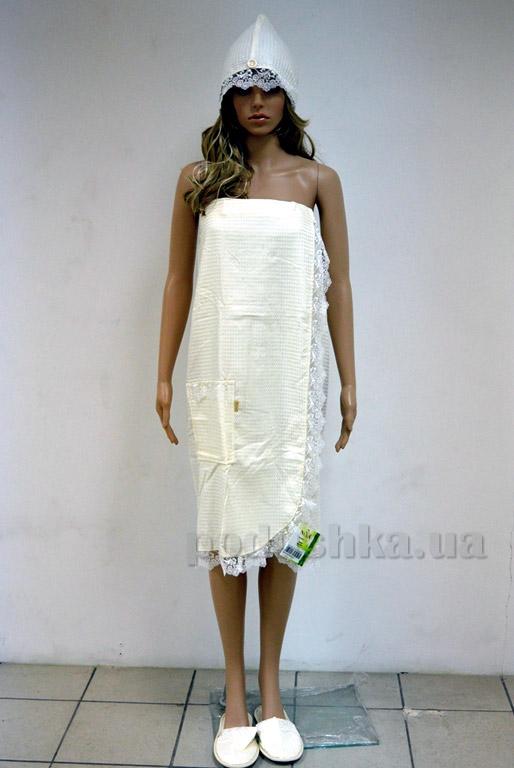 Набор для сауны женский вафельный Nusa 030 кремовый