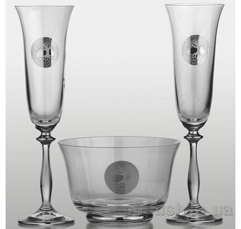 Набор для шампанского Bohemia Sklo Angela Edem платина 3 предмета 44-03-064